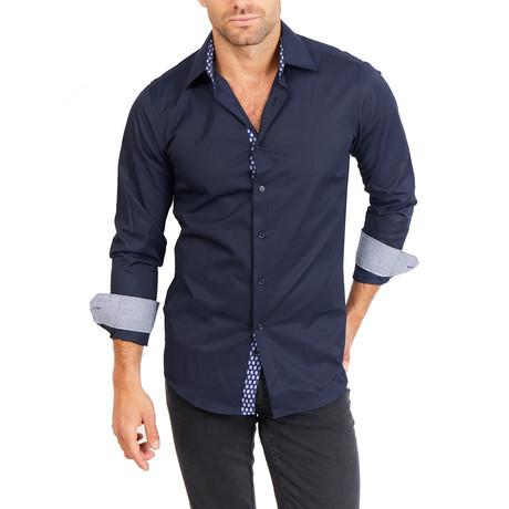 Landon Long Sleeve Button-Up Shirt // Indigo Blue (Large)