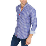 Lincoln Checkered Long Sleeve Button-Up Shirt // Light Blue + Gray (Large)