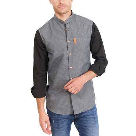 Joey Long Sleeve Button-Up Shirt // Gray + Black (Large)