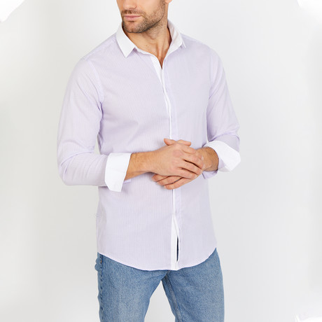 Brayden Long Sleeve Button-Up Shirt // Lavender Stripe (Small)