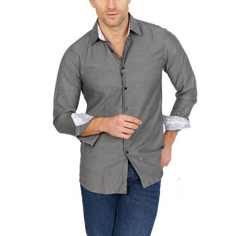 Hunter Long Sleeve Button-Up Shirt // Sooty Gray (Medium)