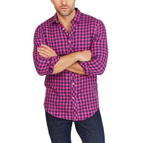 Jordan Checkered Long Sleeve Button-Up Shirt // Pink + Blue (Large)