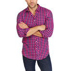 Jordan Checkered Long Sleeve Button-Up Shirt // Pink + Blue (Large)