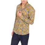 Caleb Paisley Long Sleeve Button-Up Shirt // Mustard (Large)