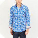 Levi Paisley Long Sleeve Button-Up Shirt // Blue (Large)