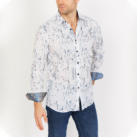 Henry Long Sleeve Button-Up Shirt // White (Large)