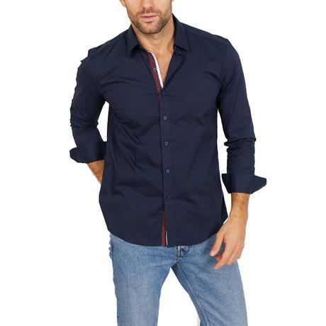 Cameron Long Sleeve Button-Up Shirt // Deep Blue (Large)