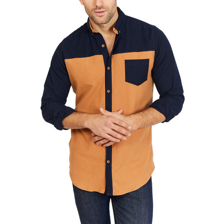Oliver Long Sleeve Button-Up Shirt // Tan with Black Design (Large)