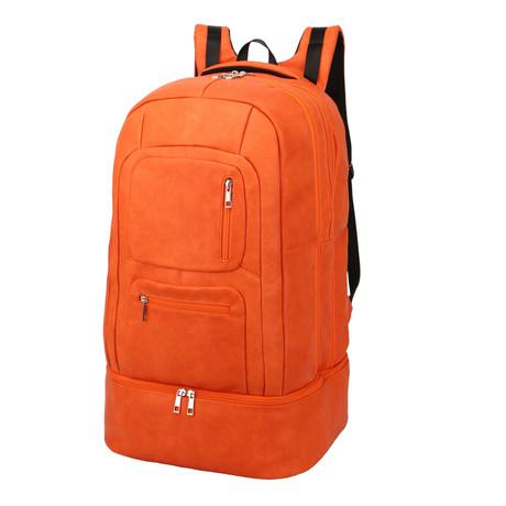 Luxury Travel Bag // Tumbled Leather // Orange