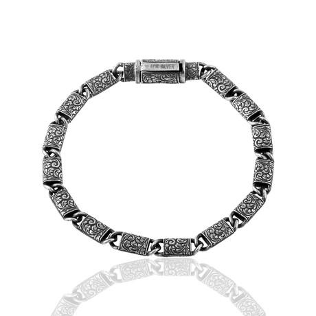 """Cylinder Hand Inlaid Bracelet // Oxide (7"""")"""