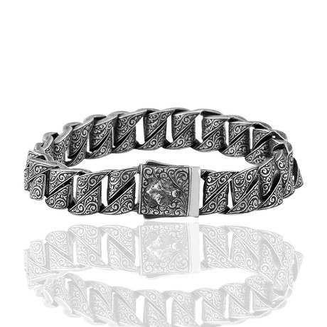 "Spiral Hand Inlaid Bracelet // Oxide (7"")"