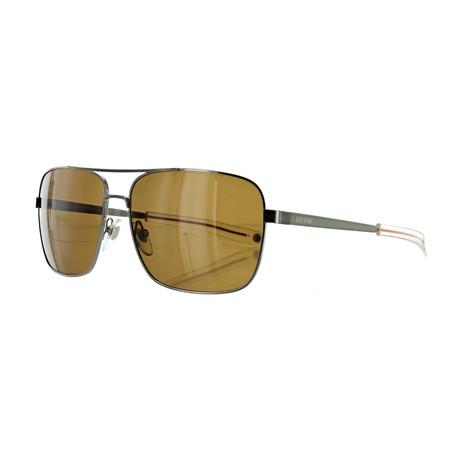 Men's Pilot Polarized Sunglasses // Satin Ruthenium + Brown