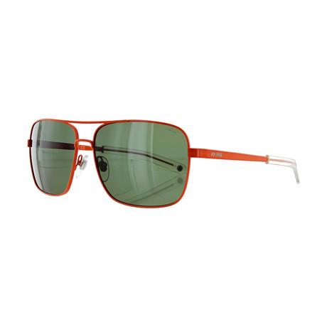 Men's Pilot Sunglasses // Orange + Green