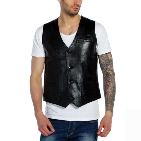 Chickadee Leather Vest // Black (XS)
