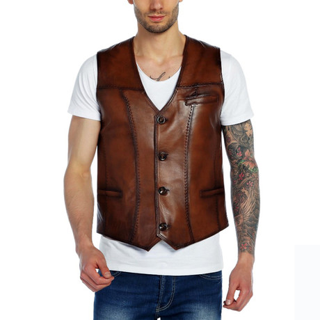 Bluebird Leather Vest // Tobacco (XS)