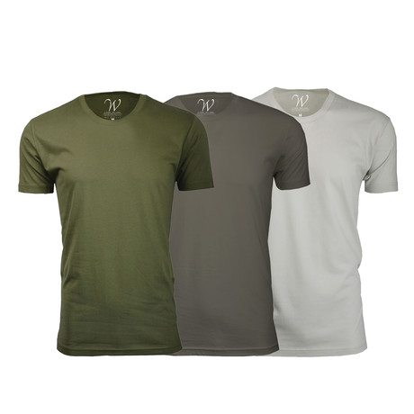 Ultra Soft Suede Crew-Neck // Military Green + Stone + Sand // Pack of 3 (S)