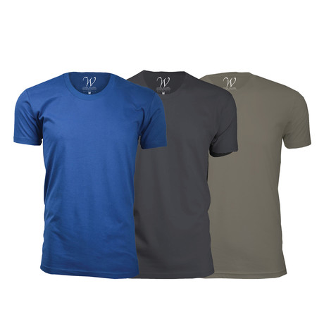 Ultra Soft Suede Crew-Neck // Royal Blue + Heavy Metal + Sand // Pack of 3 (S)