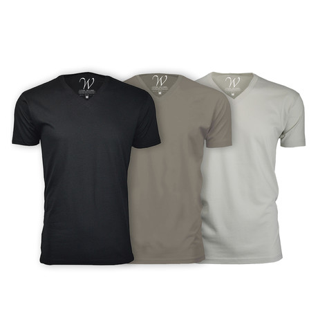 Ultra Soft Suede V-Neck // Black + Stone + Sand // Pack of 3 (S)