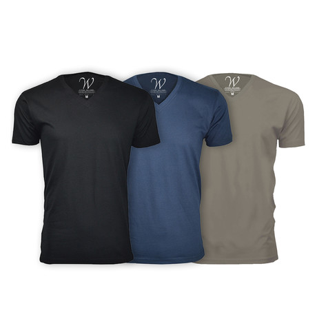 Ultra Soft Suede V-Neck // Black + Navy + Stone // Pack of 3 (S)