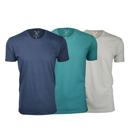 Ultra Soft Suede Crew-Neck // Navy + Teal + Sand // Pack of 3 (S)
