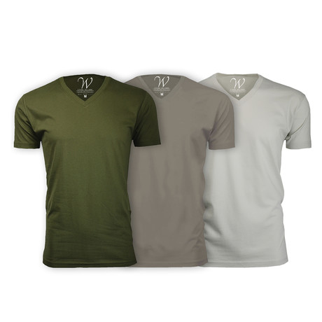 Ultra Soft Suede V-Neck // Military Green + Stone + Sand // Pack of 3 (S)