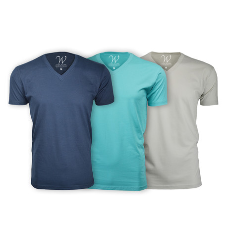 Ultra Soft Suede V-Neck // Navy + Teal + Sand // Pack of 3 (S)