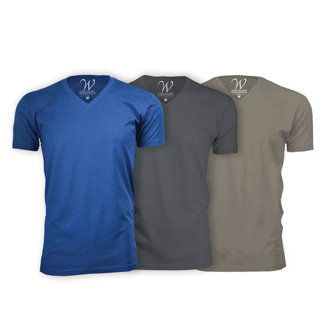 Ultra Soft Suede V-Neck // Royal Blue + Heavy Metal + Sand // Pack of 3 (S)