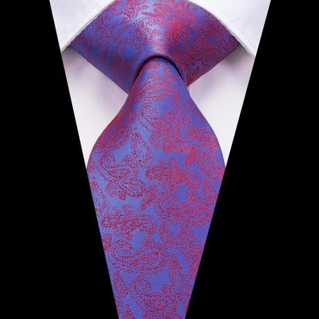 Elliot Handmade Silk Tie // Dusk Blue + Red