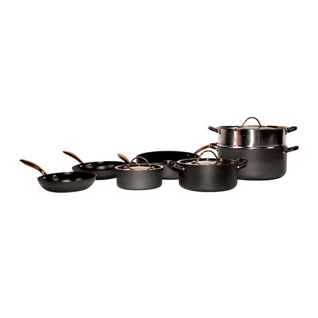 Ouro 10-Piece Hard Anodized Chef's Set // Black + Rose Gold