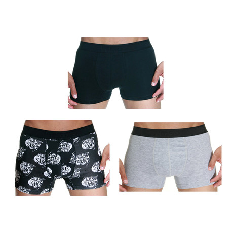 Tiger Boxer // Black + Gray // Pack of 3 (S)