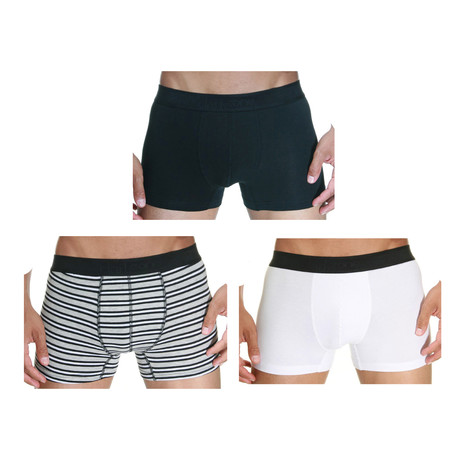 Stripe Boxer // Black + White + Gray // Pack of 3 (S)