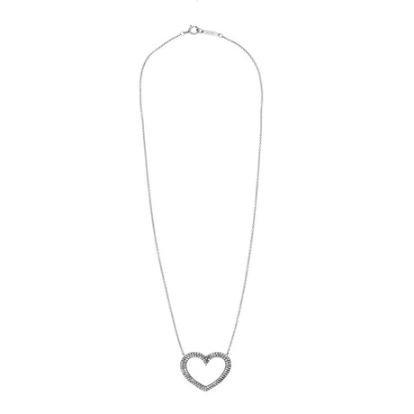 Tiffany & Co. Metro Platinum Diamond Heart Necklace // Pre-Owned