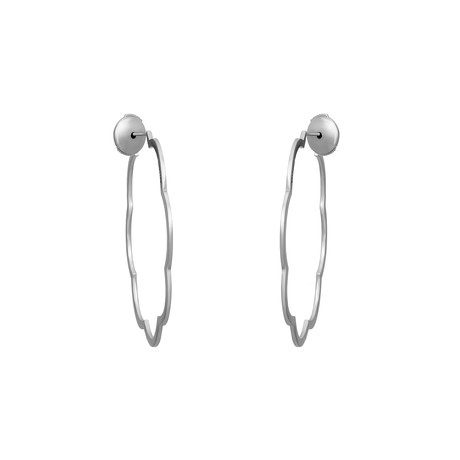 Chanel 18k White Gold Camellia Hoop Earrings // Pre-Owned