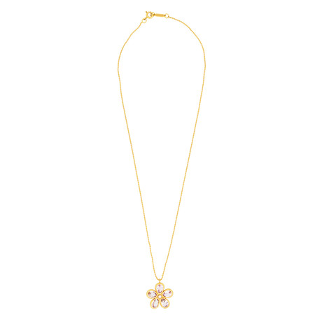Tiffany & Co. 18k Rose Gold Amethyst Flower Necklace // Pre-Owned