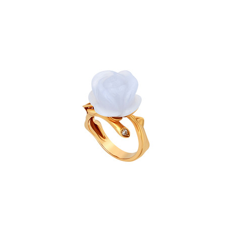 Dior 18k Yellow Gold Pré Catelan Blue Chalcedony + Diamond Ring // Ring Size: 7.25 // Pre-Owned