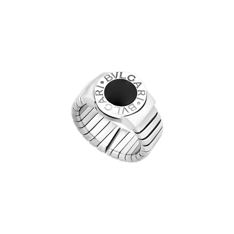 Bulgari 18k White Gold Tubogas Onyx Ring // Ring Size: 7 // Pre-Owned