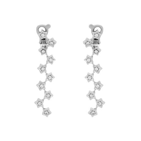 Chanel 18k White Gold Diamond Star Drop Earrings // Pre-Owned