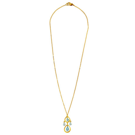 Tiffany & Co. 18k Yellow Gold Aquamarine Tear Drop Necklace // Pre-Owned