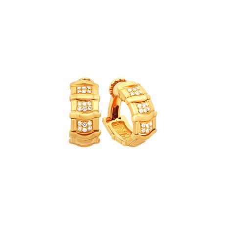 Piaget 18k Yellow Gold Diamond Hoop Earrings // Pre-Owned