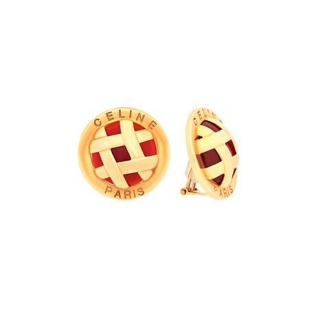 Celine 18k Yellow Gold Carnelian Lattice Earrings // Pre-Owned