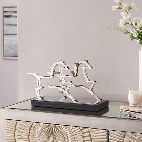 Gamboa Horse Sculpture // Stainless Steel + Marble