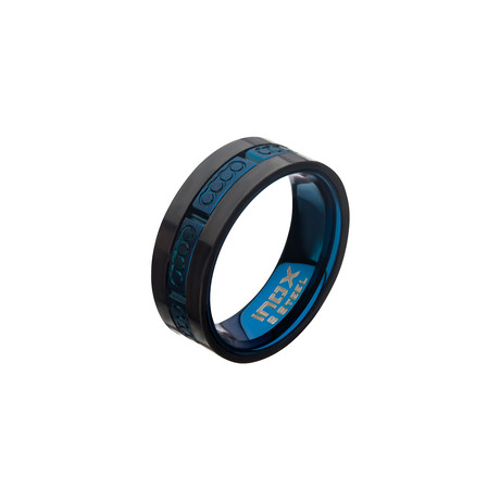 Matte Stainless Steel + Carbon Fiber Ring // Blue (Size 9)