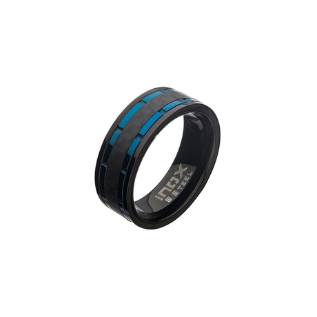 Stainless Steel Lines + Carbon Fiber Hammered Ring // Black + Blue (Size 9)