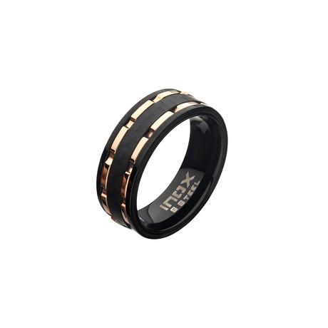 Stainless Steel Lines + Carbon Fiber Hammered Ring // Black + Rose Gold (Size 9)