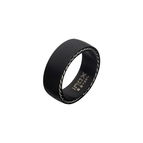 Matte Stainless Steel + Sand Finish Ring // Black (Size 9)