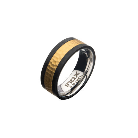 Stainless Steel + Carbon Fiber Hammered Ring // Gold Plated (Size 9)