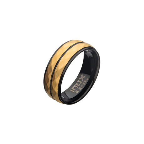 Stainless Steel Double Hammered Ring // Gold + Black (Size 9)