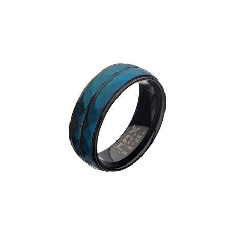 Stainless Steel Double Hammered Ring // Blue + Black (Size 9)
