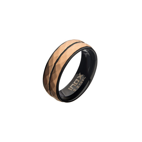 Stainless Steel Double Hammered Ring // Rose Gold + Black (Size 9)