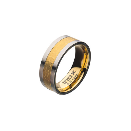 Matte Stainless Steel Hammered Ring // Gold Plated (Size 9)